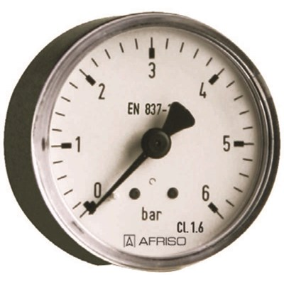 1/4 x 63 mm manometer 0-6 bar. løp bak.